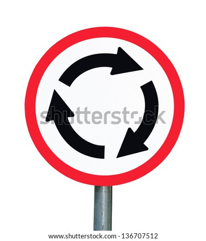 Roundabout crossroad red traffic sign isolated on white background - stock photo
