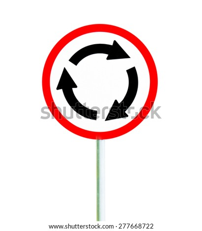 Roundabout crossroad road traffic sign on white background - stock photo