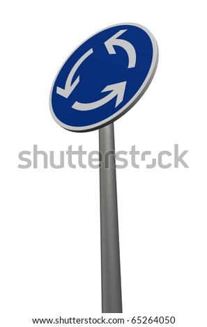 roundabout roadsign on white background - 3d illustration