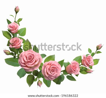 Rounded border with roses branches  isolated in white. 3d illustration. - stock photo