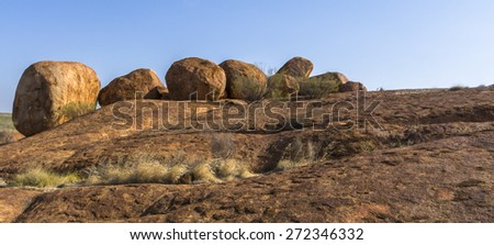 Rounded rocks in Devils Marbles, NT, Australia. - stock photo