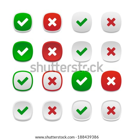 Rounded square validation buttons. Vector available. - stock photo