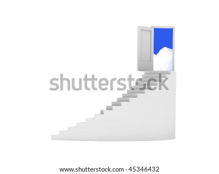 Rounded stairway to heaven isolated on white background. High quality 3d render. - stock photo