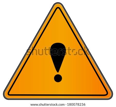 Rounded triangle shape hazard warning sign with exclamation mark symbol. Bitmap illustration  - stock photo