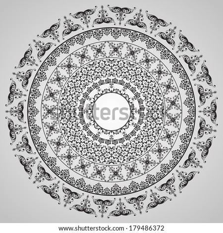 rounded vintage floral pattern - stock photo