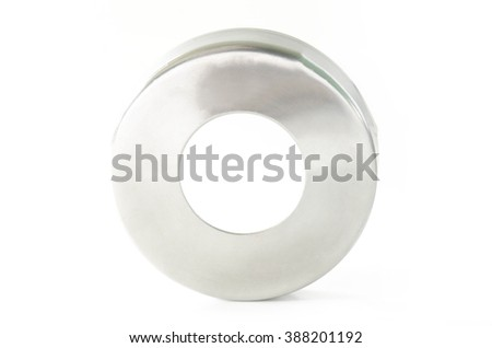 Roung flange stainless steel fitting isolated on white background