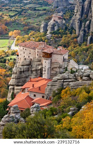Roussanou Monastery and Meteora Rocks, Trikala region, Greece  - stock photo
