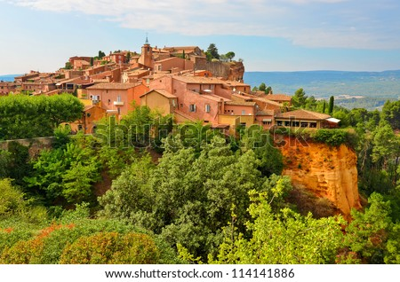 Roussillon village sunset view, Provence, France - stock photo