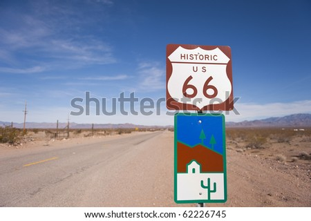 Route 66, Arizona - A road sign identifies a lonely section of historic Route 66. - stock photo