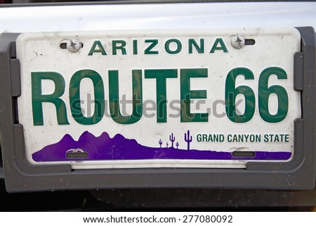 Route 66 Arizona classic Americana license plate - stock photo