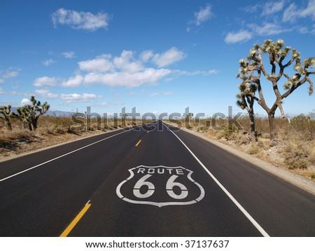 Route 66 crossing California's Mojave desert. - stock photo