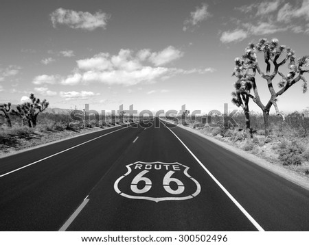 Route 66 crossing the Mojave desert black and white.