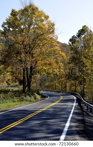 Route 82 East, Two-lane Highway in Autumn, Birch River, West Virginia, USA - stock photo