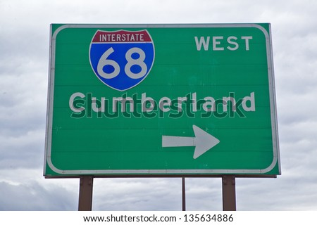 Route 68 highway sign to Cumberland Gap, Maryland - stock photo