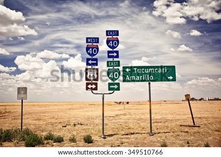 Route 66 intersection signs in Adrian, Texas - stock photo