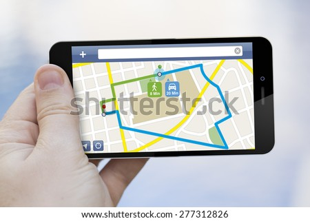 Route planning concept: 3d generated smartphone with map navigator app on the screen - stock photo
