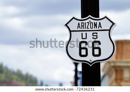 Route 66 road sign in Arizona