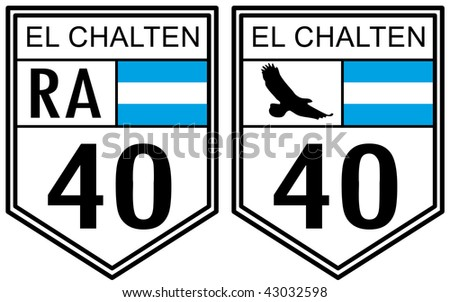 Route 40 road sign located in Argentina with El Chalten text - stock photo