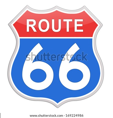 Route 66 Road Sign red and blue isolated on white background. - stock photo