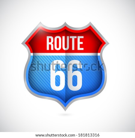 route 66 street sign illustration design over a white background