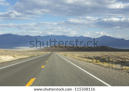 Route 50 - the loneliest road in America, Nevada - stock photo