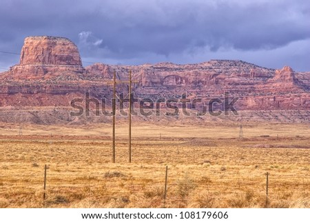 Route to Monument Valley in Utah (66 Route) - stock photo