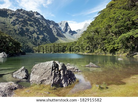 Routeburn track, magnificent fabulous scenery in New Zealand - stock photo