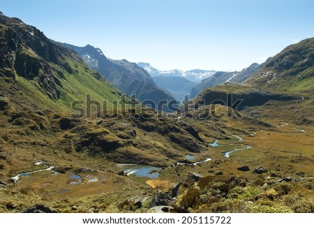 routeburn track,magnificent fabulous scenery in New Zealand - stock photo