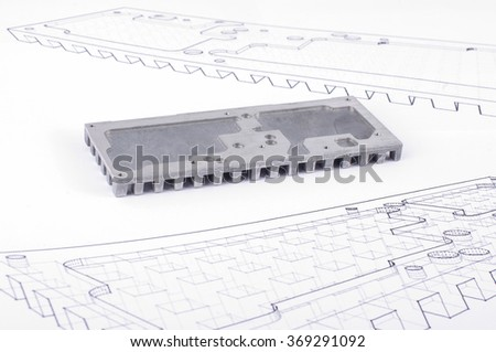 Routed mechanical part prototypes on the technical drawings