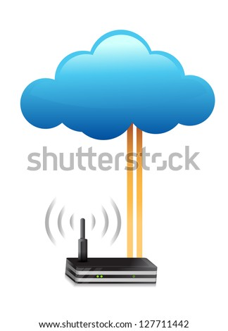 router cloud computing connection concept illustration design - stock photo