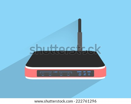 Router wifi ,Flat design style - stock photo