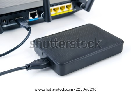 Router with backup storage disk. Data in your own cloud - stock photo