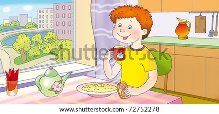 routine - the morning - stock photo