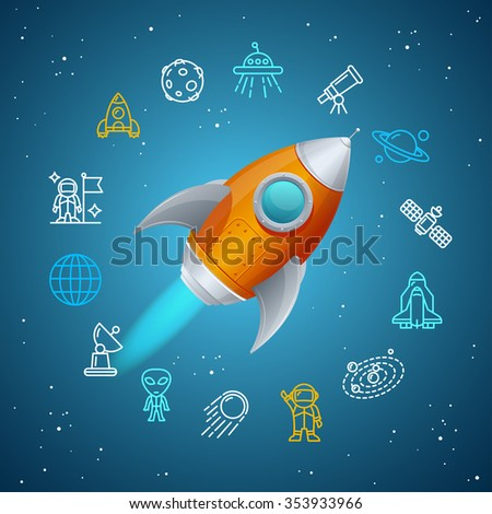 Rovet and Space Icon Concept. illustration - stock photo