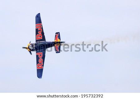 ROVINJ, CROATIA, APRIL 13: Red Bull Air Race World Championship 2014 on April 13, 2014 in Rovinj.  - stock photo