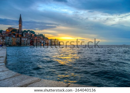 Rovinj old town at night in Adriatic sea coast of Croatia, Europe. This image make HDR technique - stock photo