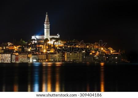 Rovinj sea side town at night, Istrian peninsula, Croatia - stock photo