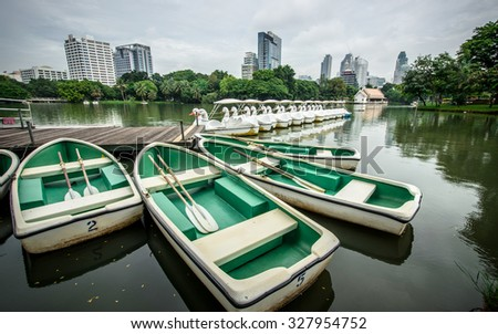 Row boat parking in the lake of park