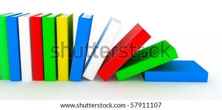 Row books (various colour, done in 3d)