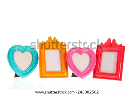 Row colorful photo frames for your own pictures - stock photo