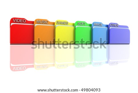 row file, isolated background (done in 3d) - stock photo