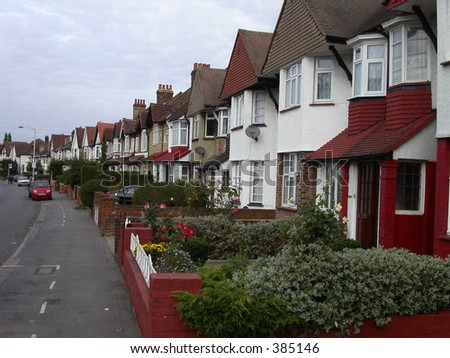 Row House in london city - stock photo