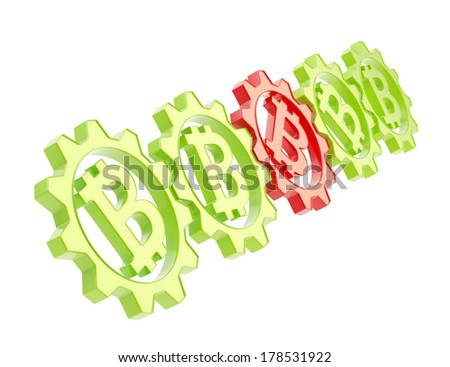 Row of a green plastic gears with a bitcoin peer-to-peer crypto currency sign inside and one red gear stuck in the middle, isolated over white background - stock photo