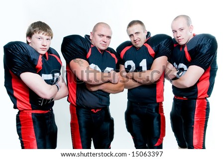 Row of American football players isolated on white background