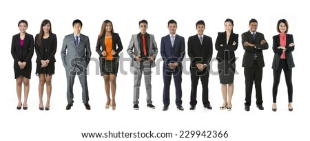 Row of 10 Asian business people. Business team Isolated on white background.