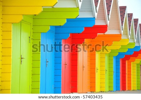 Row of beach huts in Scarborough - stock photo