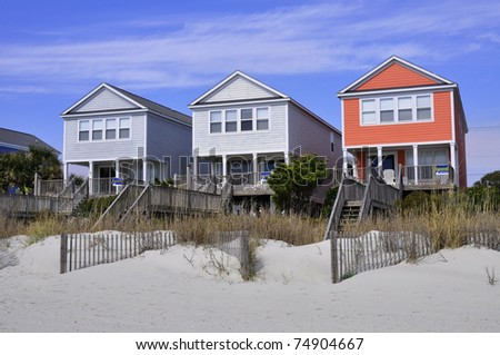 Row of beach rentals on a summer day - stock photo
