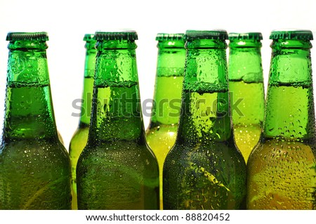 Row of beer bottles
