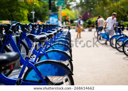Row of bikes for rent in the city - stock photo