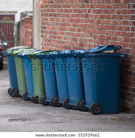 Row of bins - stock photo